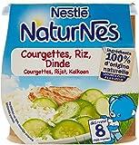 Nestlé Bébé Naturnes Courgettes Riz Dinde - Plat Complet dès 8 Mois - 2 x 200g - Lot de 4