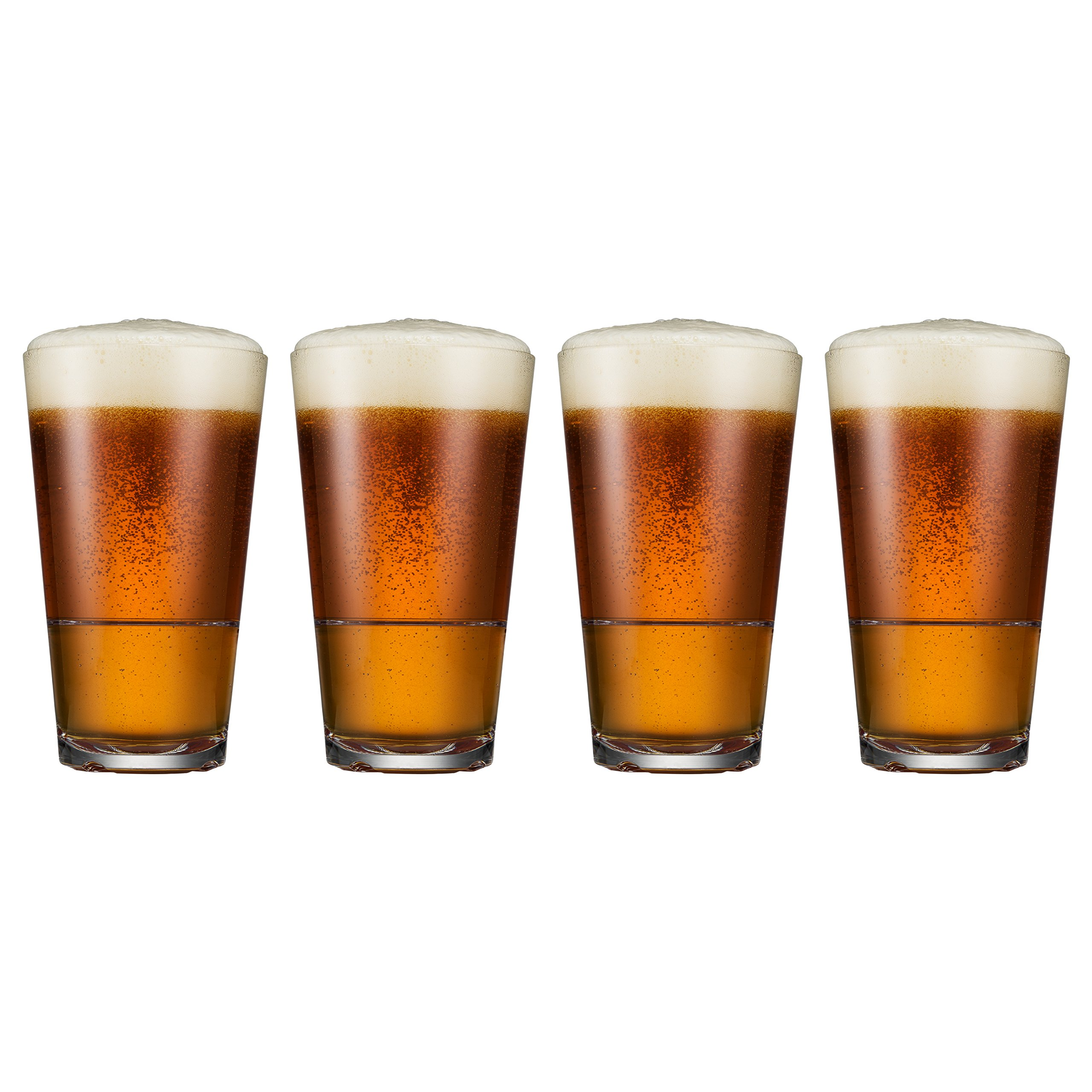 Drinique CAL-PT-CLR-4 Caliber Pint Unbreakable Tritan Beer Glasses, 16 oz. (Set of 4), Clear