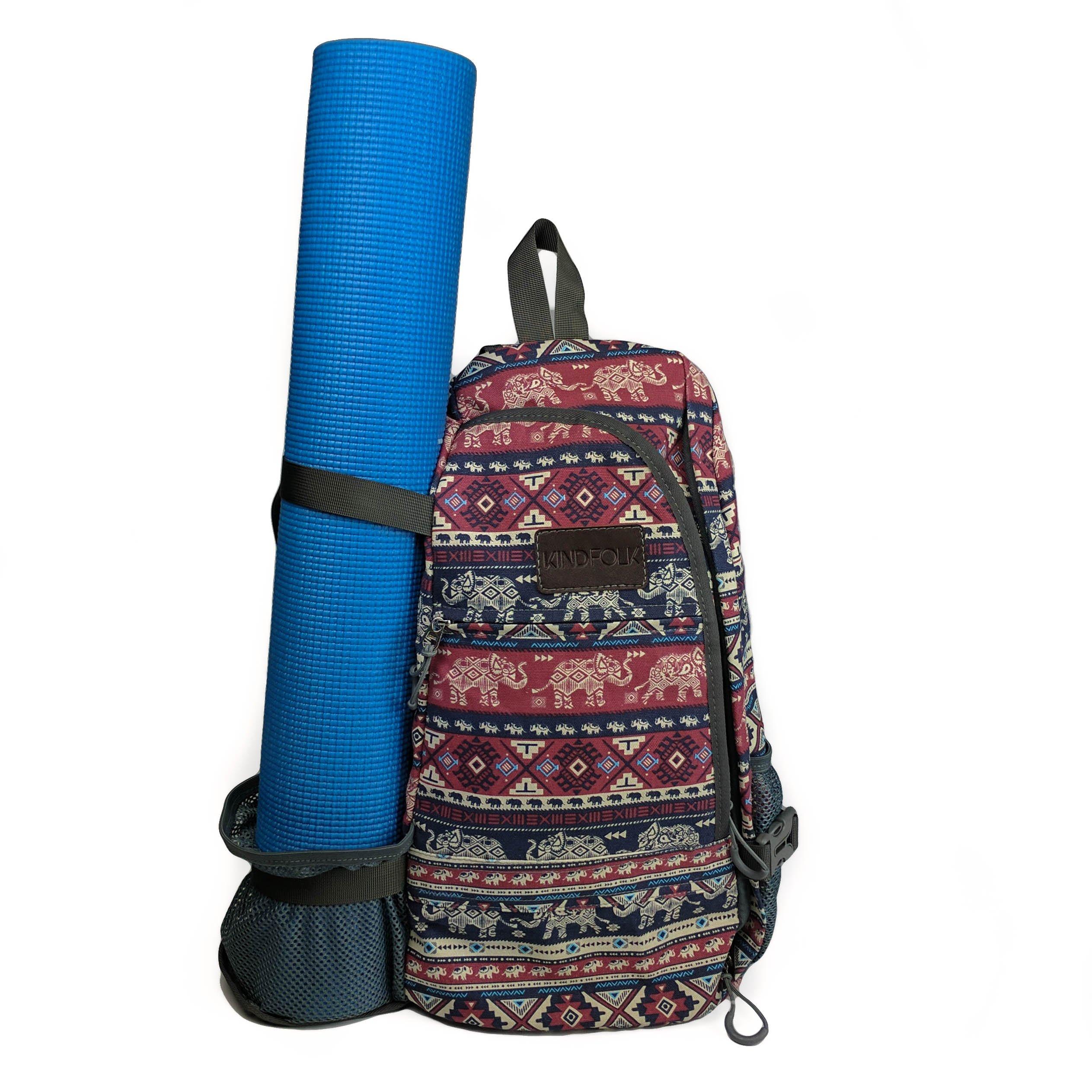 Kindfolk Yoga Mat Backpack Crossbody Style One Strap (Karma)