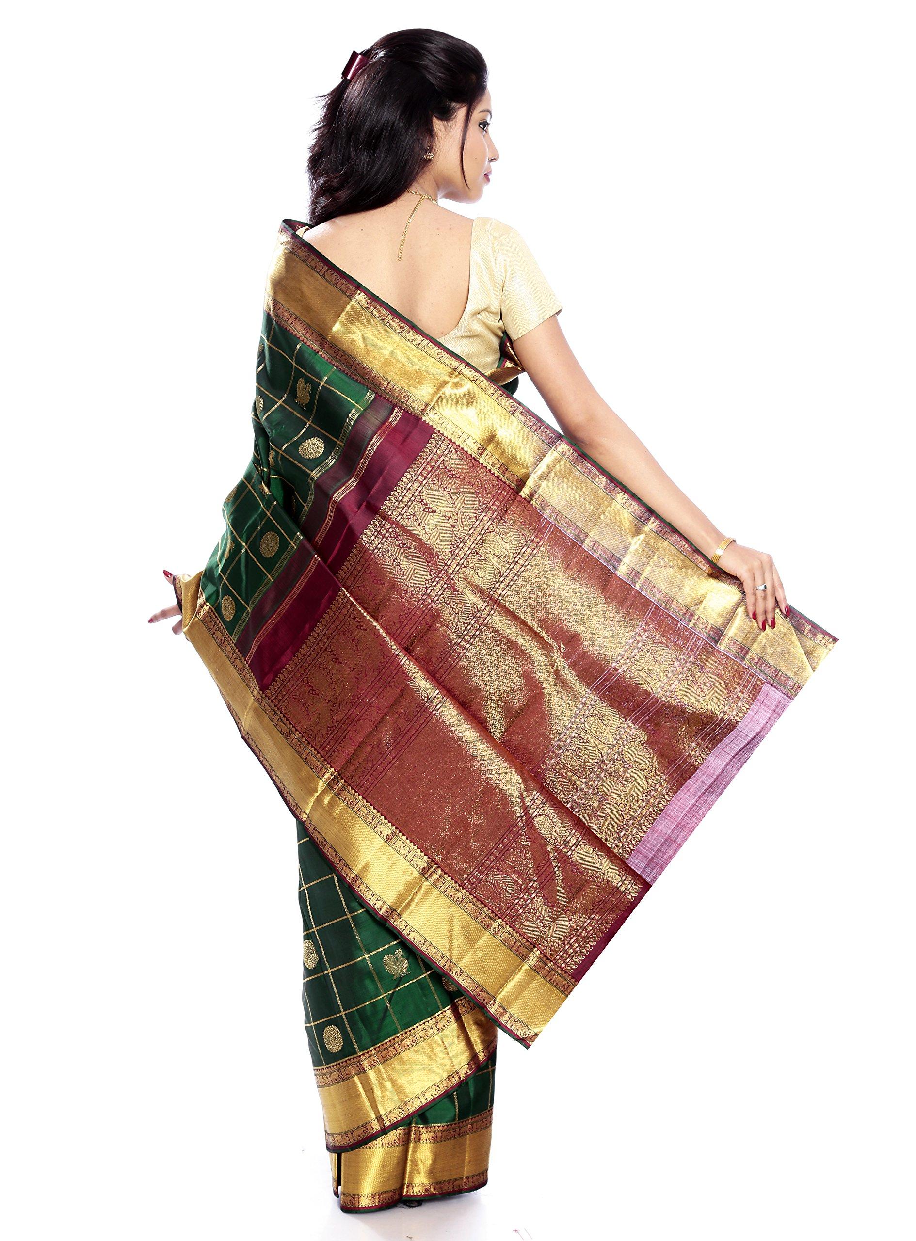 Mandakini — Indian Women's Kanchipuram - Handloom - Pure Zari & Pure Silk Saree (Dark green ) (MK210) by Mandakini (Image #5)
