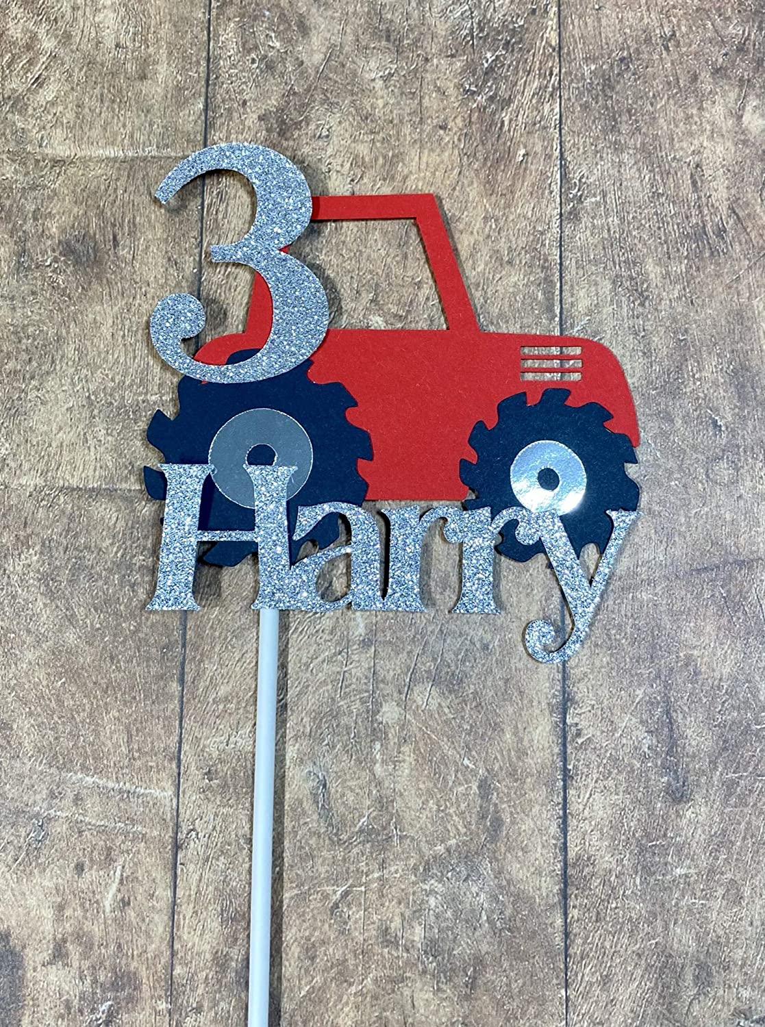 Available In Choice of Colours Farm Tractor Birthday Cake Topper With Glitter Name /& Age On