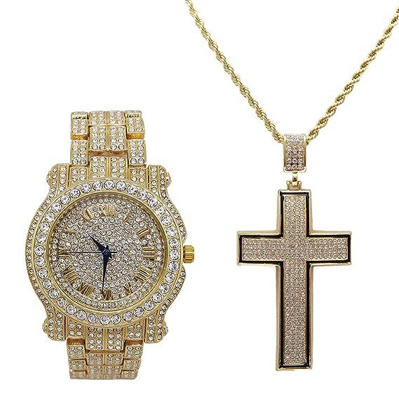 Bling-ed out - Reloj de Pulsera con Forma cóncava Dorada y Negra con diseño de Cruz de la Marca Royalty - L0504C Dorado: Charles Raymond: Amazon.es: Relojes