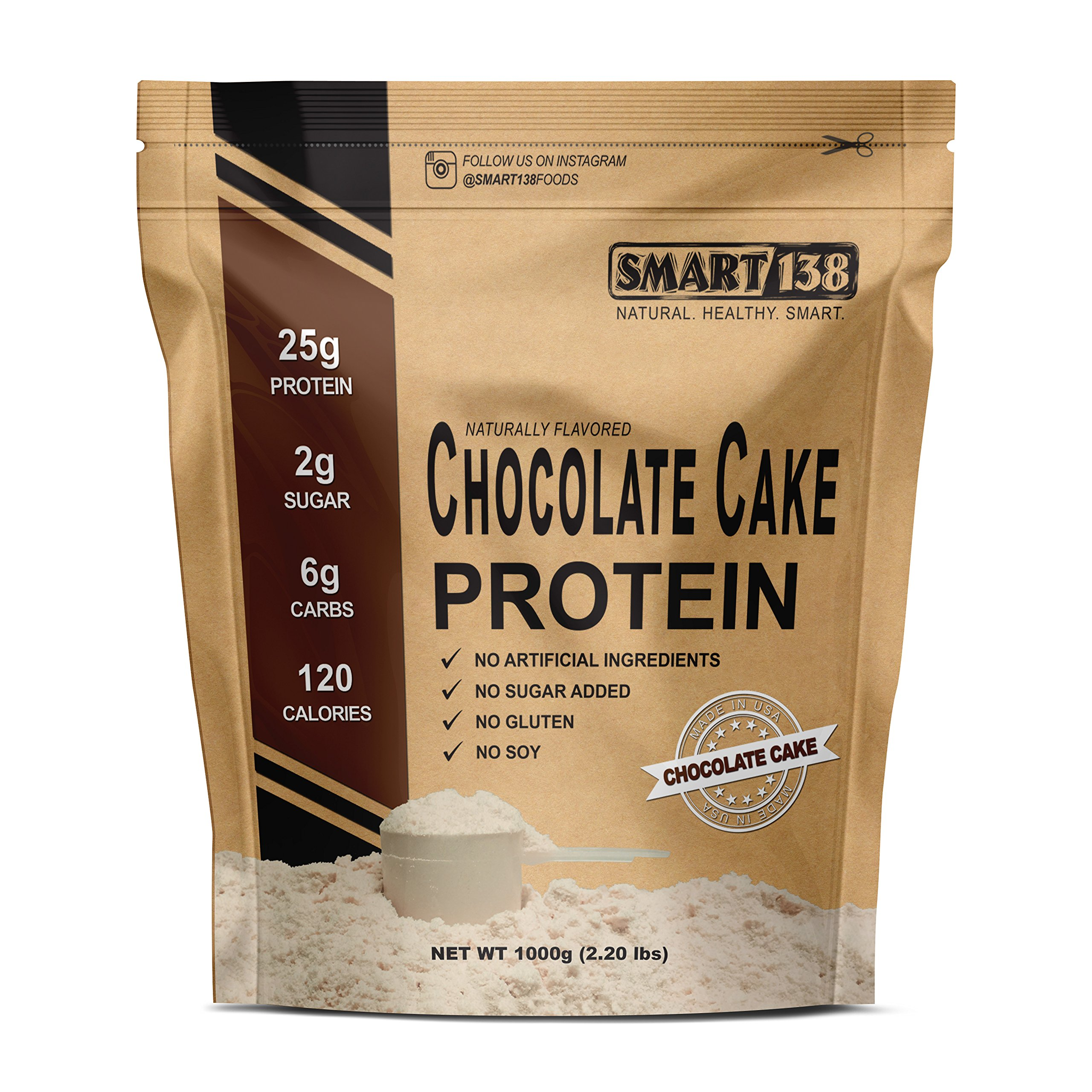 Chocolate Cake Natural Protein Powder, Gluten-Free, Soy-Free, USA, Keto (Low Carb), Natural BCAAs by Smart138