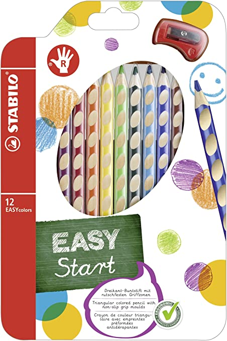STABILO EASYcolours Ergonomic Colouring Pencil for Right Handed Assorted Colours Petrol Pack of 2 Wallet of 6 /& EASYgraph Handwriting Pencil Right Handed