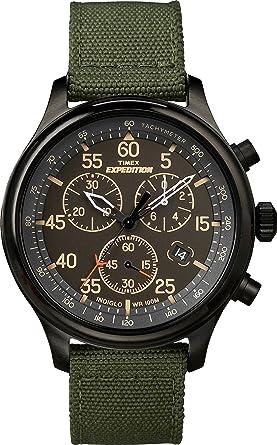 1fa179410f20 Timex Men s TW4B10300 Expedition Field Chrono Green Black Canvas Strap Watch