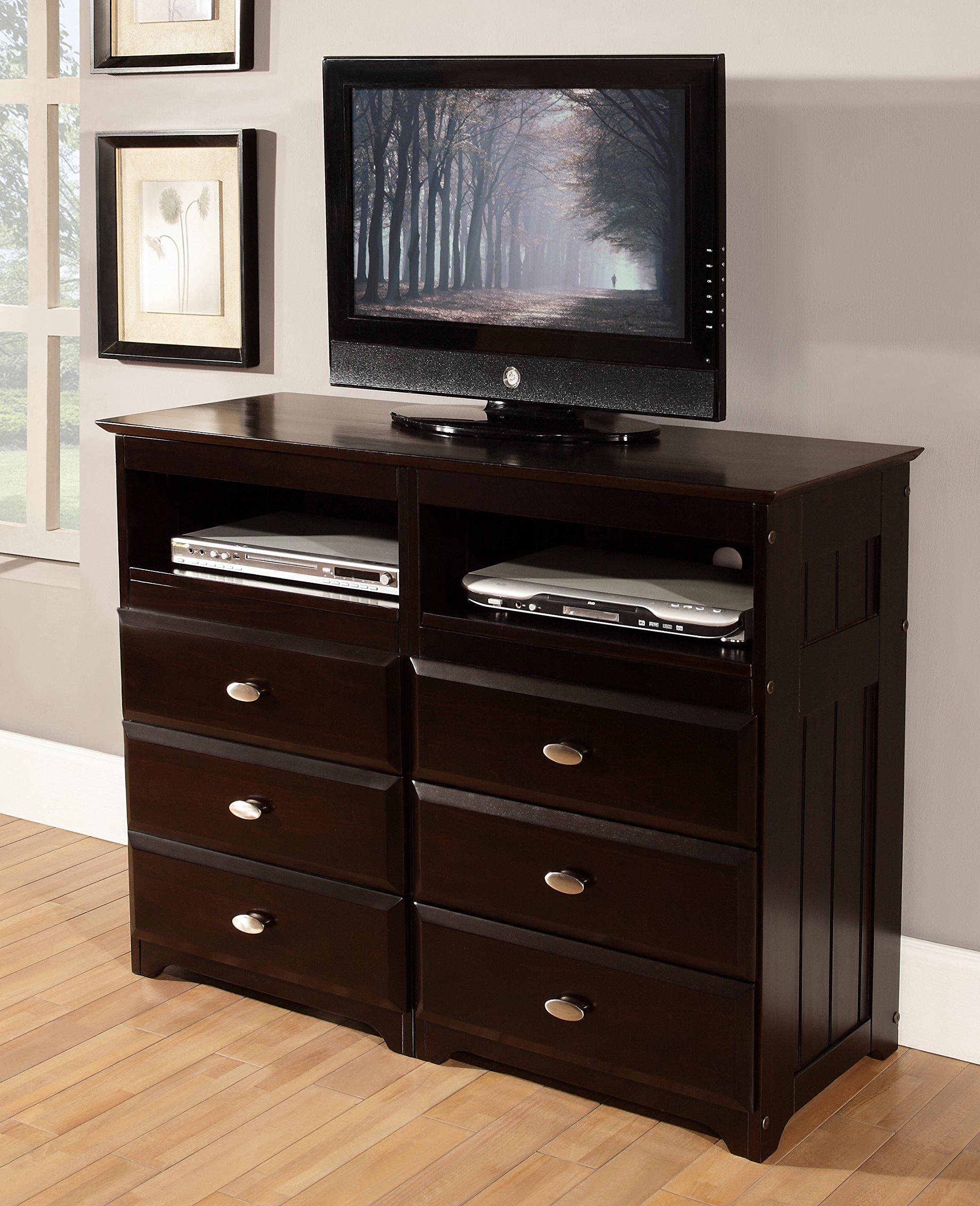 Discovery World Furniture 6 Drawer Entertainment Dresser, Espresso