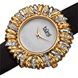 Burgi Ribbon Loop Bezel Colored Crystals Women's Watch - Gorgeous Twisted Brass Bezel with Multiple Loops and Vibrant Colored Czech Crystals On A Slim Satin Strap - BUR255