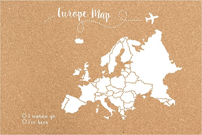 Decowood - Mapa de Corcho Europa, Grande, para Marcar Tus ...