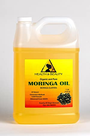 Moringa Oleifera Oil Organic Carrier Cold Pressed Natural Fresh 100 Pure 128 oz, 7 LB, 1 gal