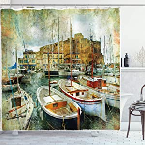 Ambesonne Marine Shower Curtain, Naples Small Boats at Historical Italian Coast with Heritage Castle Nautical Artwork, Cloth Fabric Bathroom Decor Set with Hooks, 70