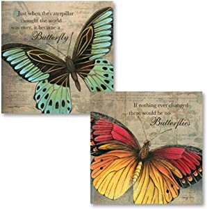 Gango Home Décor Inspirational Butterfly If Nothing Ever Changed There Would Be No Butterflies and Just When The Caterpillar Thought The World was Over, It Became A Butterfly; 2-12x12 Unframed Prints