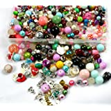 Glass Beads in Bulk 3/4 Pound Lot with Mixed Assorted Metal Charms Findings |  Storage Container