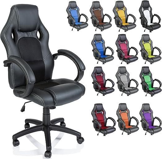 Todo para el streamer: TRESKO Silla giratoria de oficina Sillón de escritorio Racing, silla Gaming ergonómica, cilindro neumático certificado por SGS (Negro/Negro)