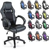 Racing Chefsessel Bürostuhl Drehstuhl 14 Farbvarianten, gepolsterte Armlehnen, Wippmechanik, Lift SGS geprüft (schwarz/schwarz)