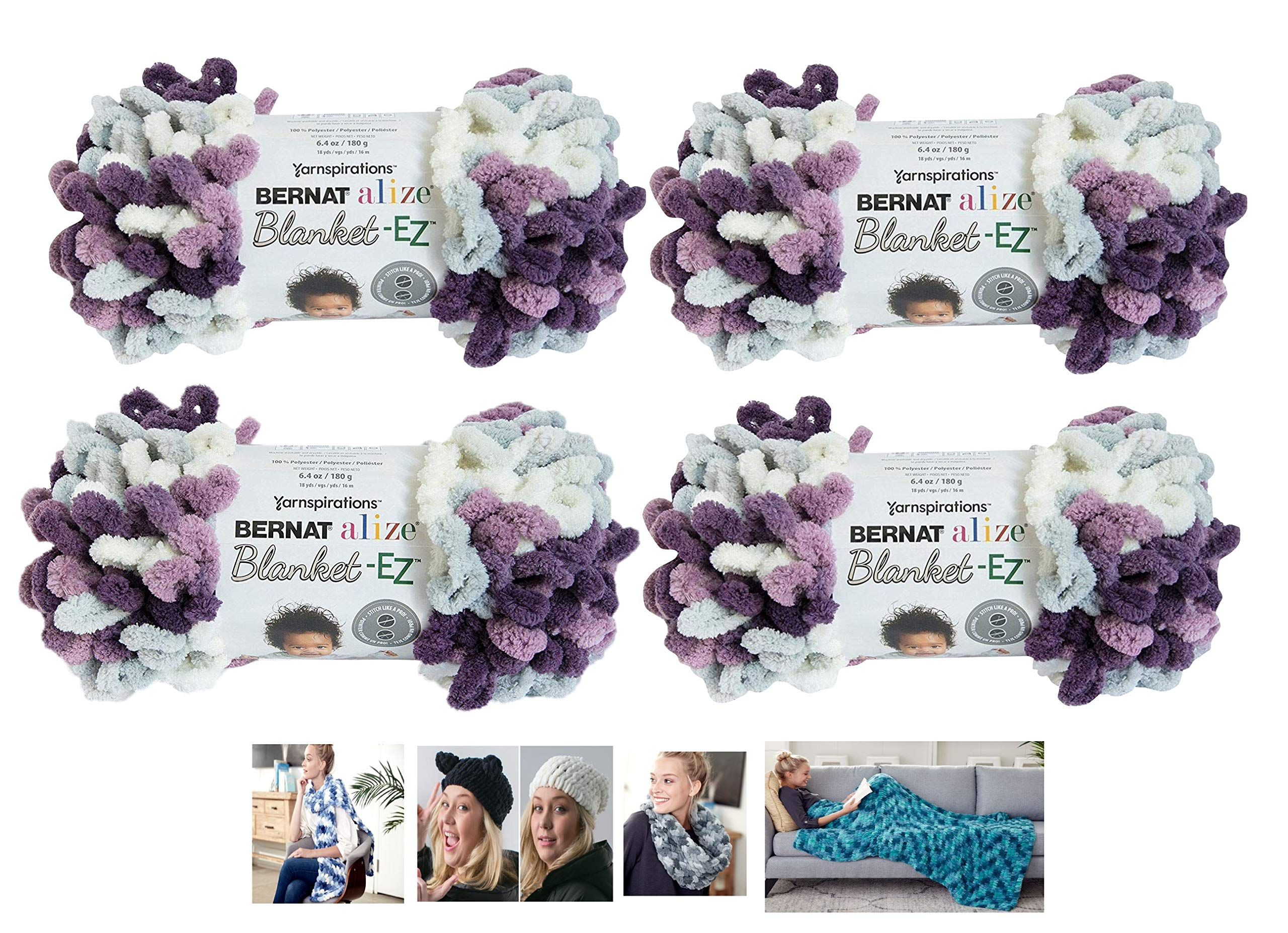 Bernat Alize EZ Blanket Yarn Bundle 100% Polyester 4 -Pack Thistle Plus 4 Patterns