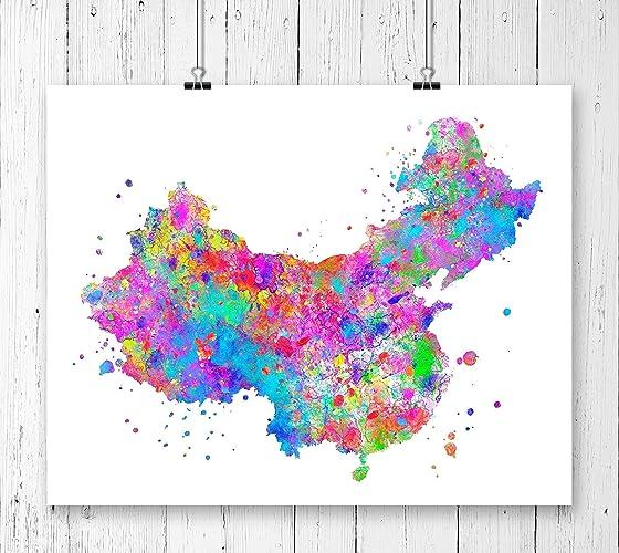 China Map Poster.Amazon Com China Map Art Print Poster Wall Art Contemporary Art