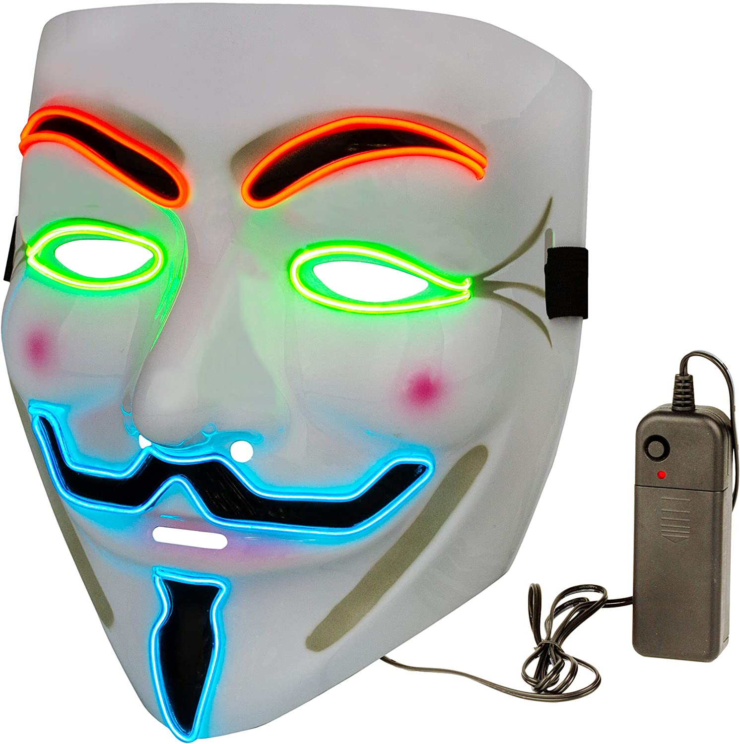 Halloween Masks LED Mask – V for Vendetta Mask Anonymous Guy Light Up Hacker Mask White