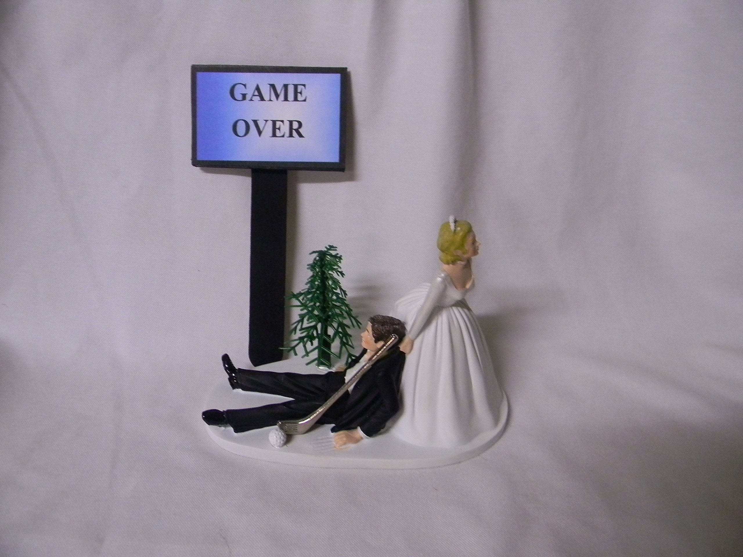 Wedding Party Reception Golf Golfer Club Game Over Sign Cake Topper
