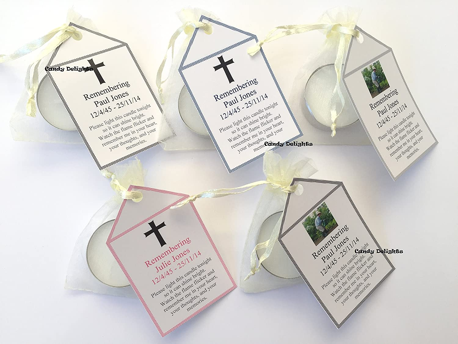 50 Remembrance, Funeral DIY Organza bag, Candle & Personalised Tag Favours Bespoke Candy Delights