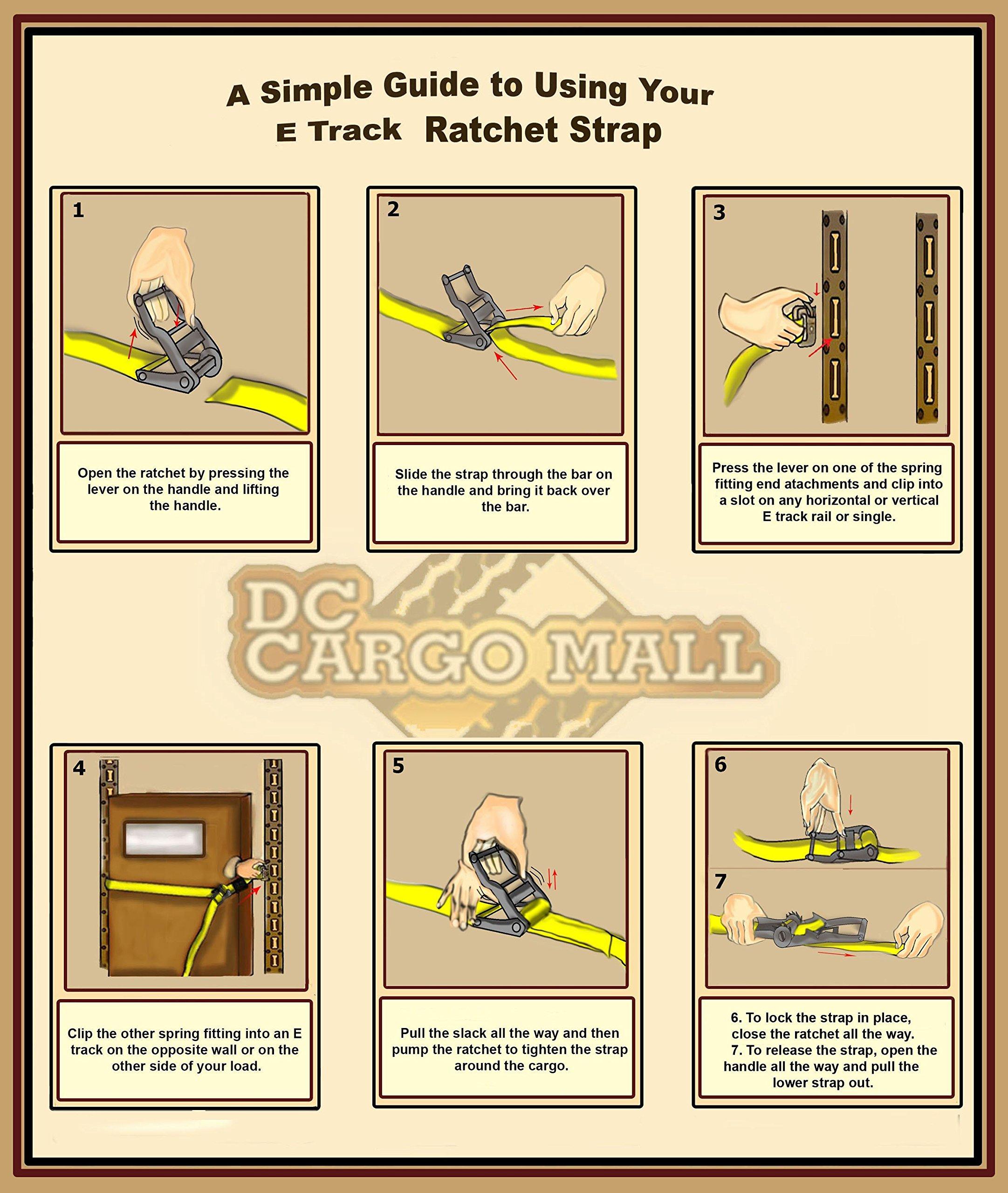 Premium Ratchet Strap for E Track MADE IN USA for Trailer, Trucks; Cargo van (20, 2 Inch x 12 Feet)