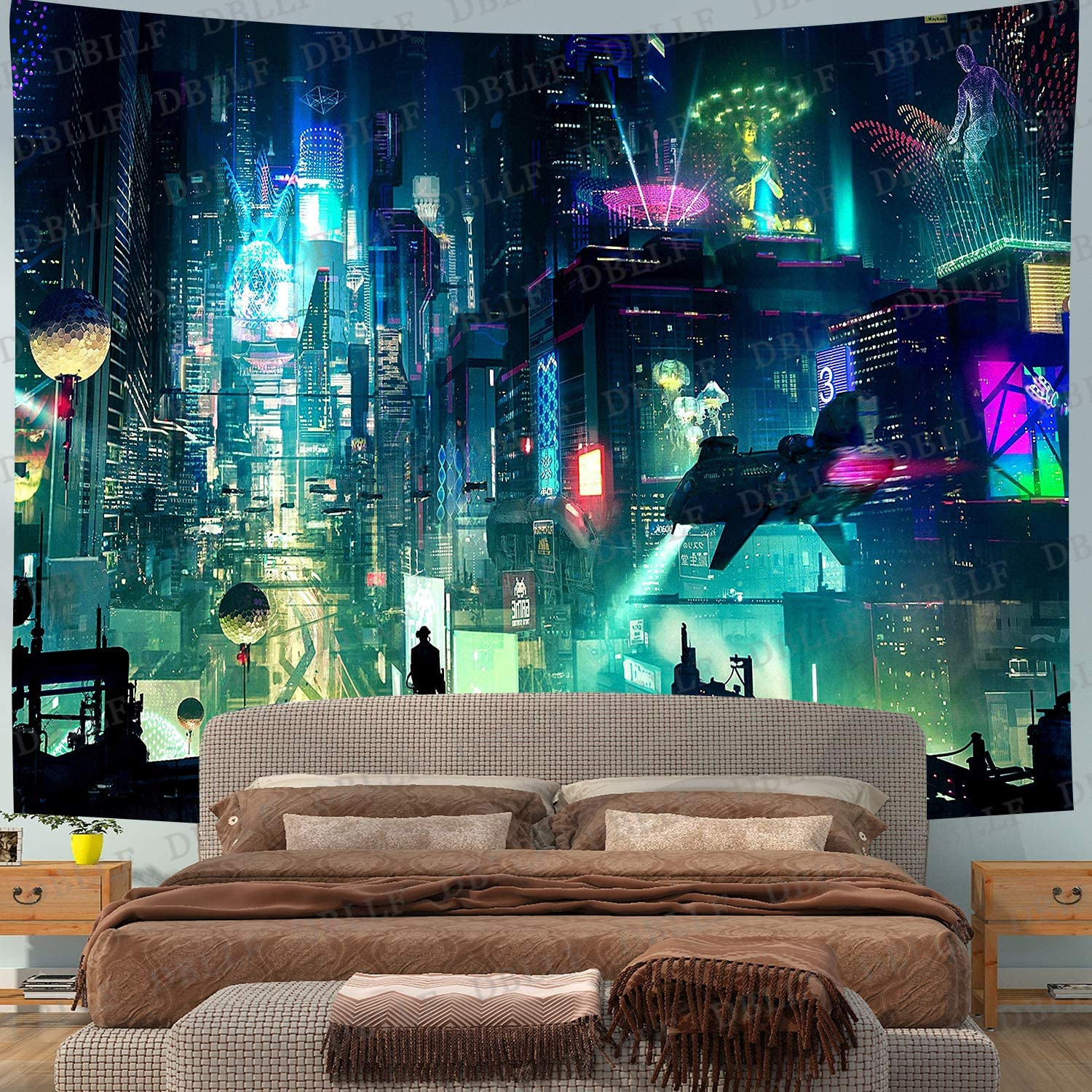 """DBLLF Fantasy Cyber-Punk Cityscape Futuristic Tapestry Wall Hanging Tapestries Black & White Wall Blanket Wall Art Home Decor,Queen Size 80""""x60"""",for Living Room Dorm Bedroom Home Decorations DBZY1769"""
