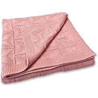 Zeke and Zoey Soft 100% Cotton Knit Baby Blanket for Girls or Boys – Unisex, for Infant, Newborn, Toddler and Kids for Crib, Stroller, car, Receiving or Swaddle Blanket (Pink)