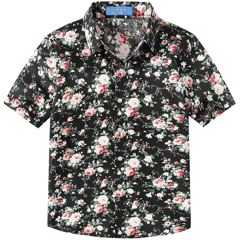 SSLR Big Boys Flower Casual Short Sleeve Button Down Hawaiian Shirt
