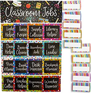 Classroom Jobs Chart Set for Bulletin Boards, Chalkboard Design (66 Pieces)