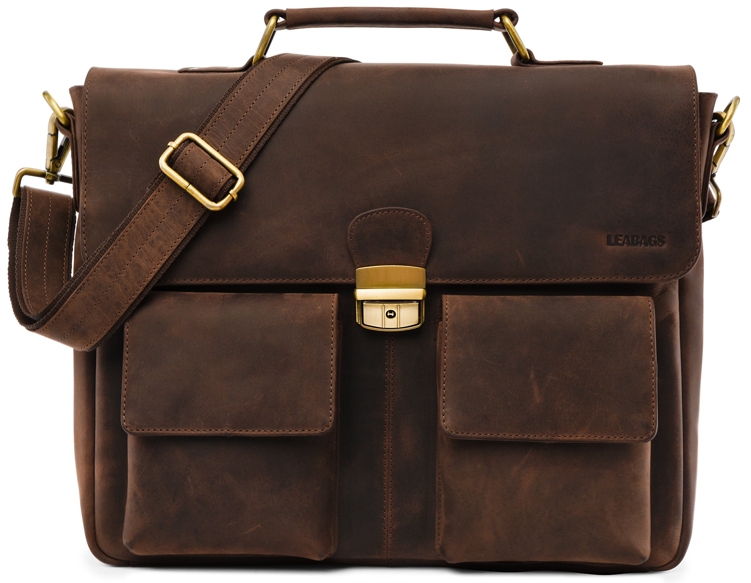 LEABAGS Lisburn Briefcase made of Genuine Leather in Vintage Look - Muskat