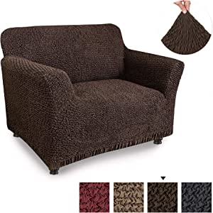 PAULATO BY GA.I.CO. Chair Cover - Armchair Cover - Armchair Slipcover - Cotton Fabric Slipcover - 1-Piece Form Fit Stretch Stylish Furniture Protector - Mille Righe Collection - Brown (Chair)