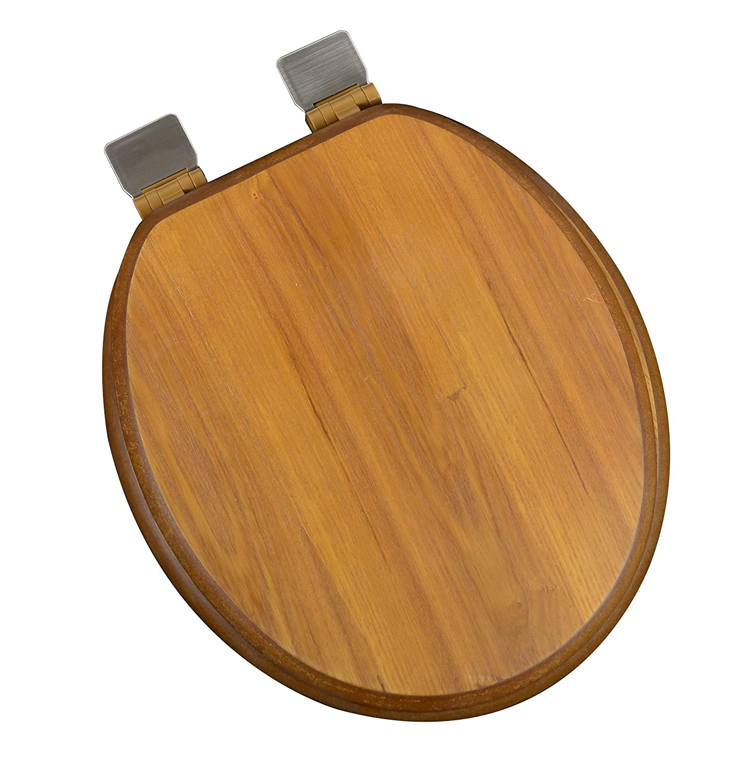 Pleasing Bath Decor 5F1R1 17Bn Round Light Oak Toilet Seat With Adjustable Brushed Nickel Hinge And Decorative Finish Forskolin Free Trial Chair Design Images Forskolin Free Trialorg