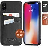 KAVAJ iPhone X/XS Case Leather Tokyo Black, Supports Wireless Charging (Qi), Slim-Fit Genuine Leather iPhone X Wallet Case Le