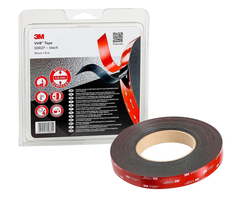 3M VHB Cinta Adhesiva 5952F - óptima adhesión a la mayoría de las pinturas en polvo, metales, vidrio, madera sellada, acrílico, policarbonato, ABS - 19mm X 8m, negro, espesor: 1.6mm (1 unidad)