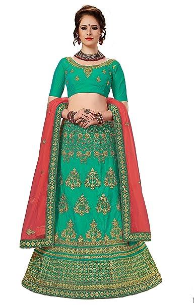 9ac7b817c9 Panash Trends Women's Embroidered Semi Stitched Lehenga, Choli and Dupatta  Set (LG16.Turquoise): Amazon.in: Clothing & Accessories