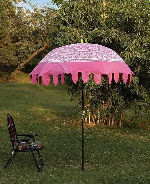 HANDICRAFT-PALACE Ombre Mandala Parasol Hecho a Mano de algodón Indio sombrilla para Patio jardín sombrilla Grande Ajustable Poll (Rosa): Amazon.es: Jardín