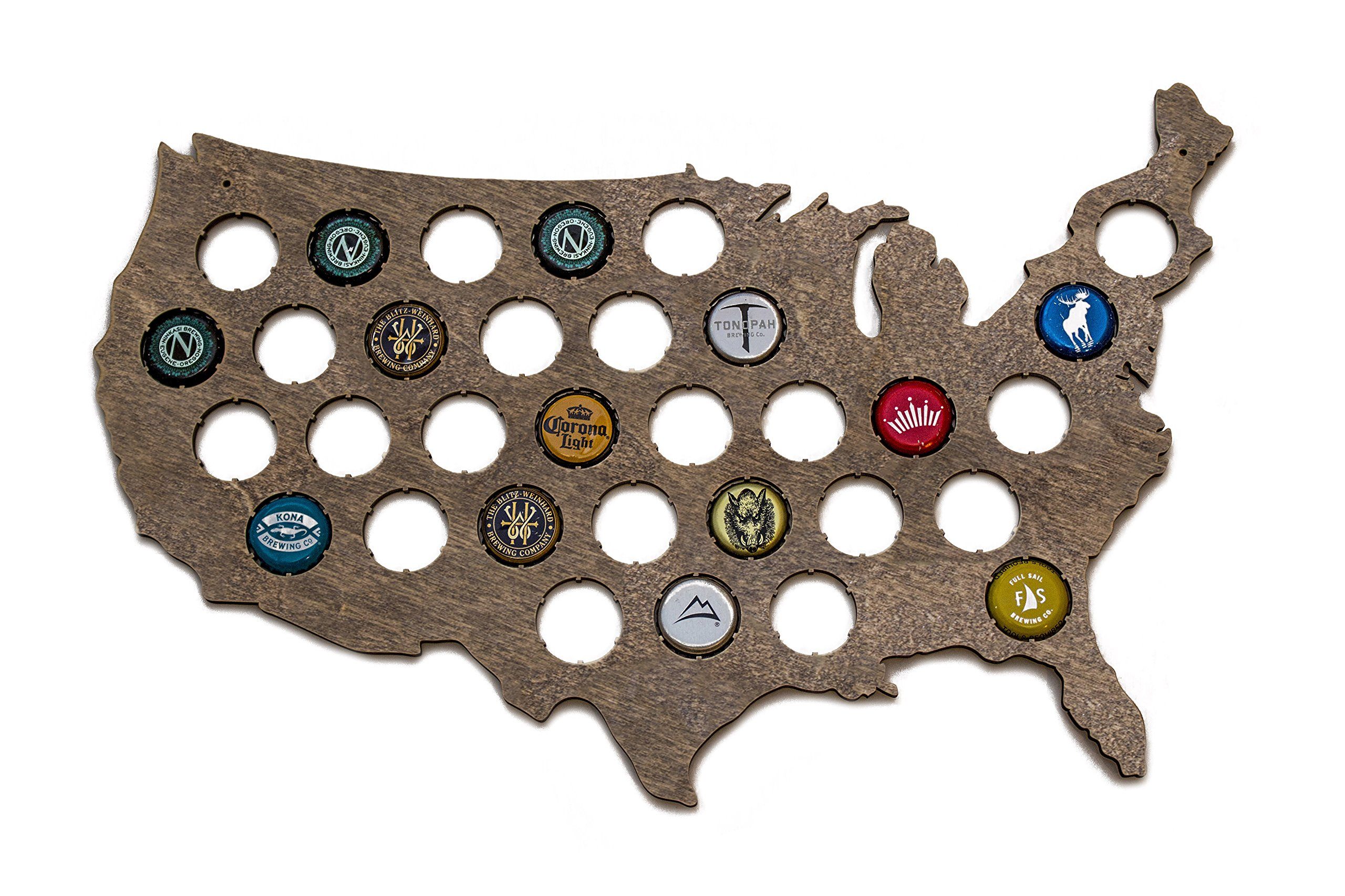 USA Beer Cap Map - Holds 32 Craft Beer Bottle Caps (Small) (Dark Stain)