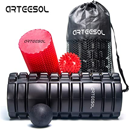 Back Muscle Massage Trigger Point Leg Pain 13×5.5 2 Foam Roller /& Carry Bag