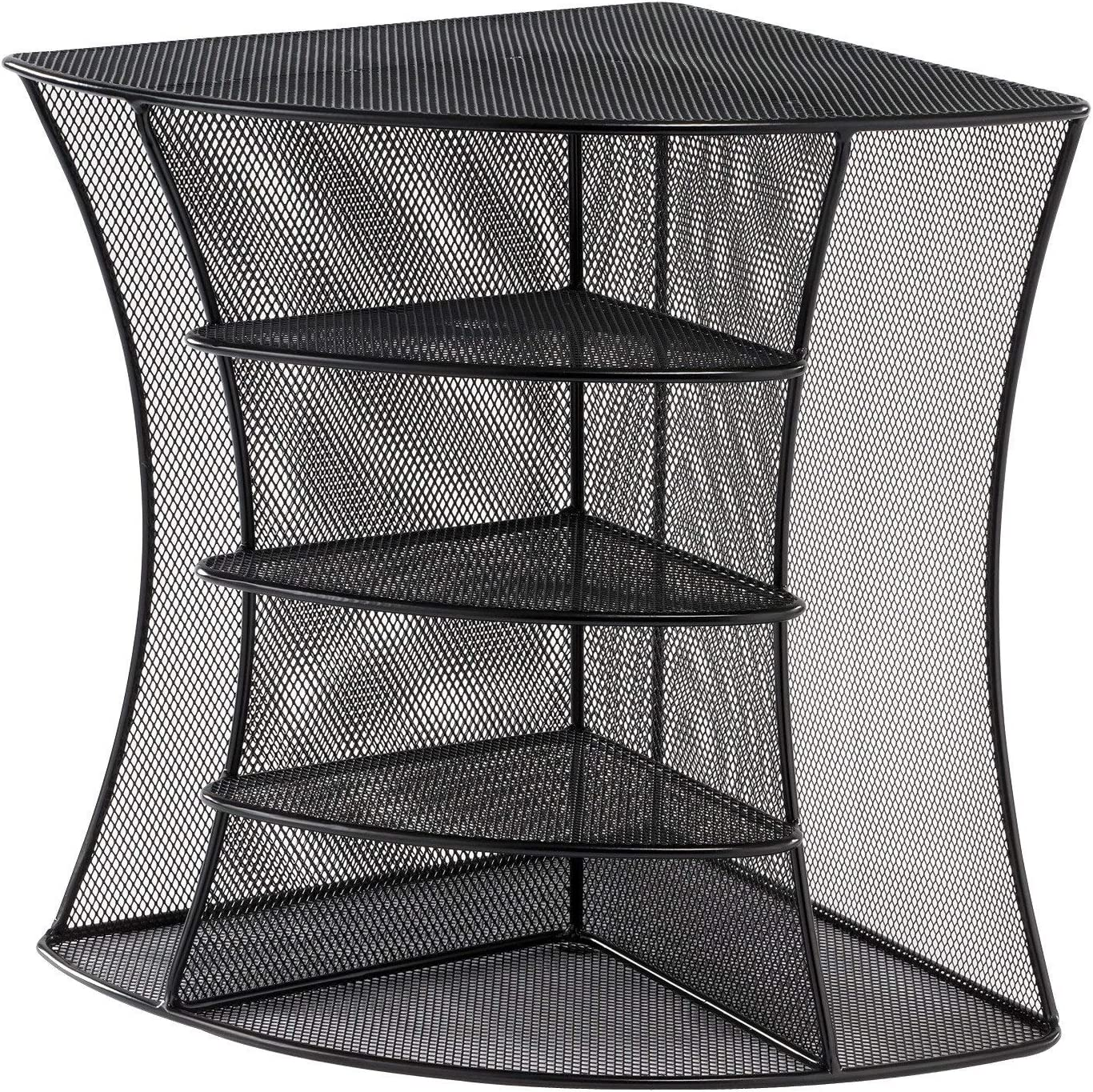 Safco Products Onyx Mesh Corner Organizer 3261BL, Black Powder Coat Finish, Durable Steel Mesh Construction, Space-Saving Functionality : Literature Organizers : Office Products