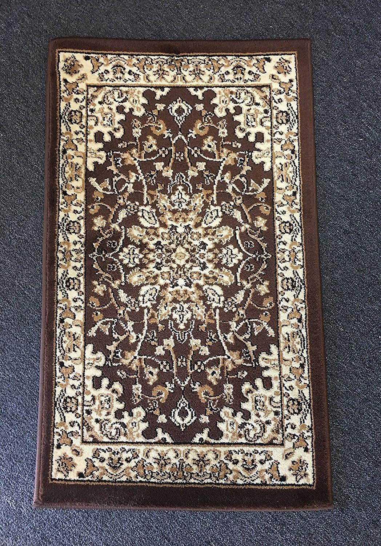 Traditional Doorway Mat Persian Area Rug Brown Deir Debwan Design 603 (2 Feet X 3 Feet)