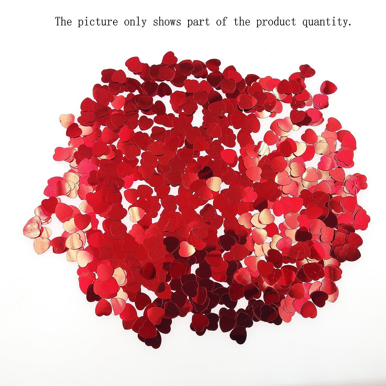 Confeti de plástico y en forma de de corazones. Opción de colores.