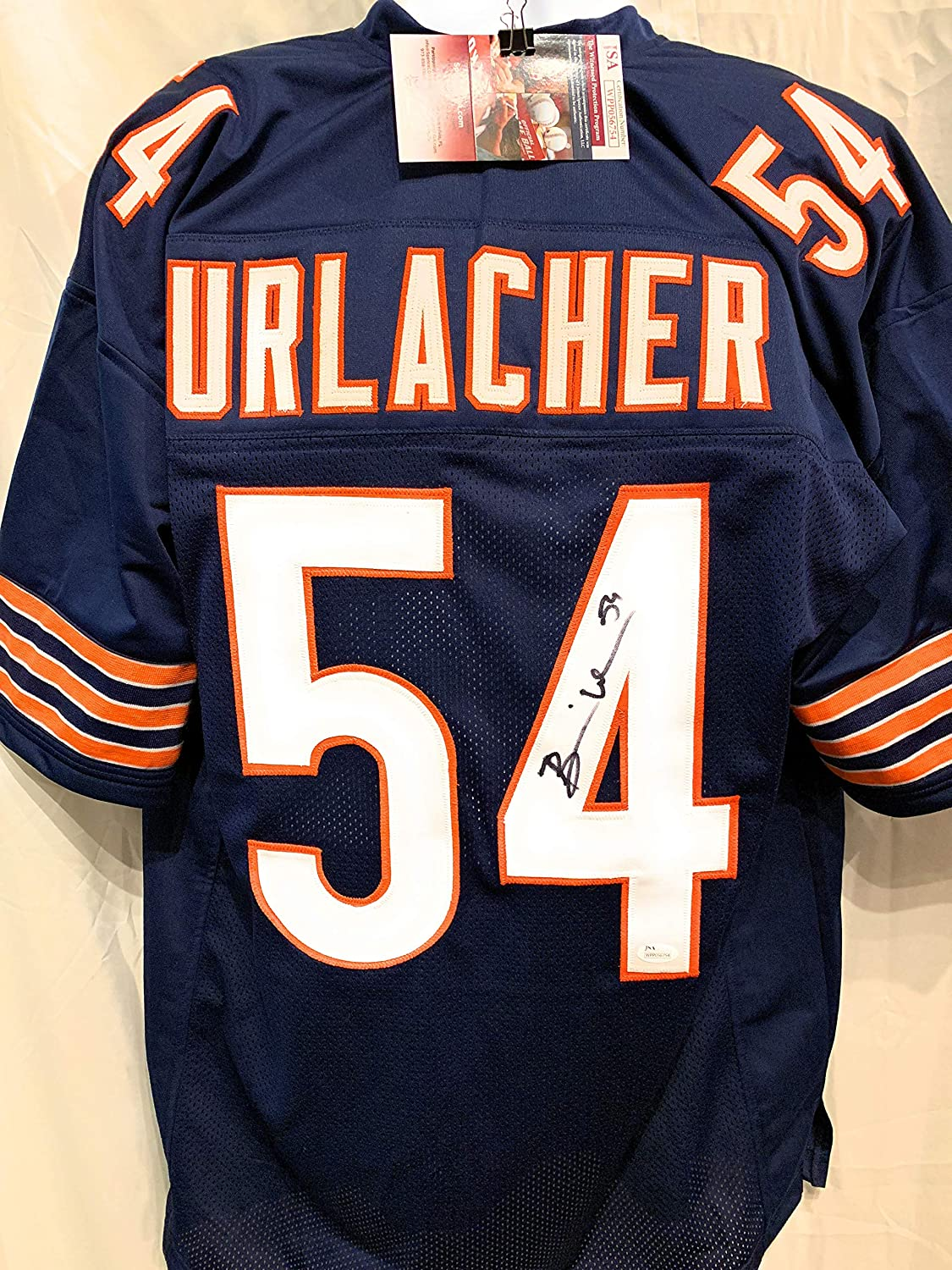 Brian Urlacher Chicago Bears Signed Autograph Blue Custom Jersey JSA Witnessed Certified