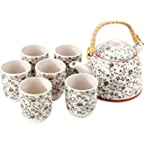 Green Rose Japanese Tea Service Set with Bamboo Handle Teapot, 6 Teacups, Tea Infuser