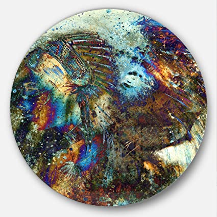 Amazoncom Designart Indian Collage Lion Woman Metal Wall Art Disc