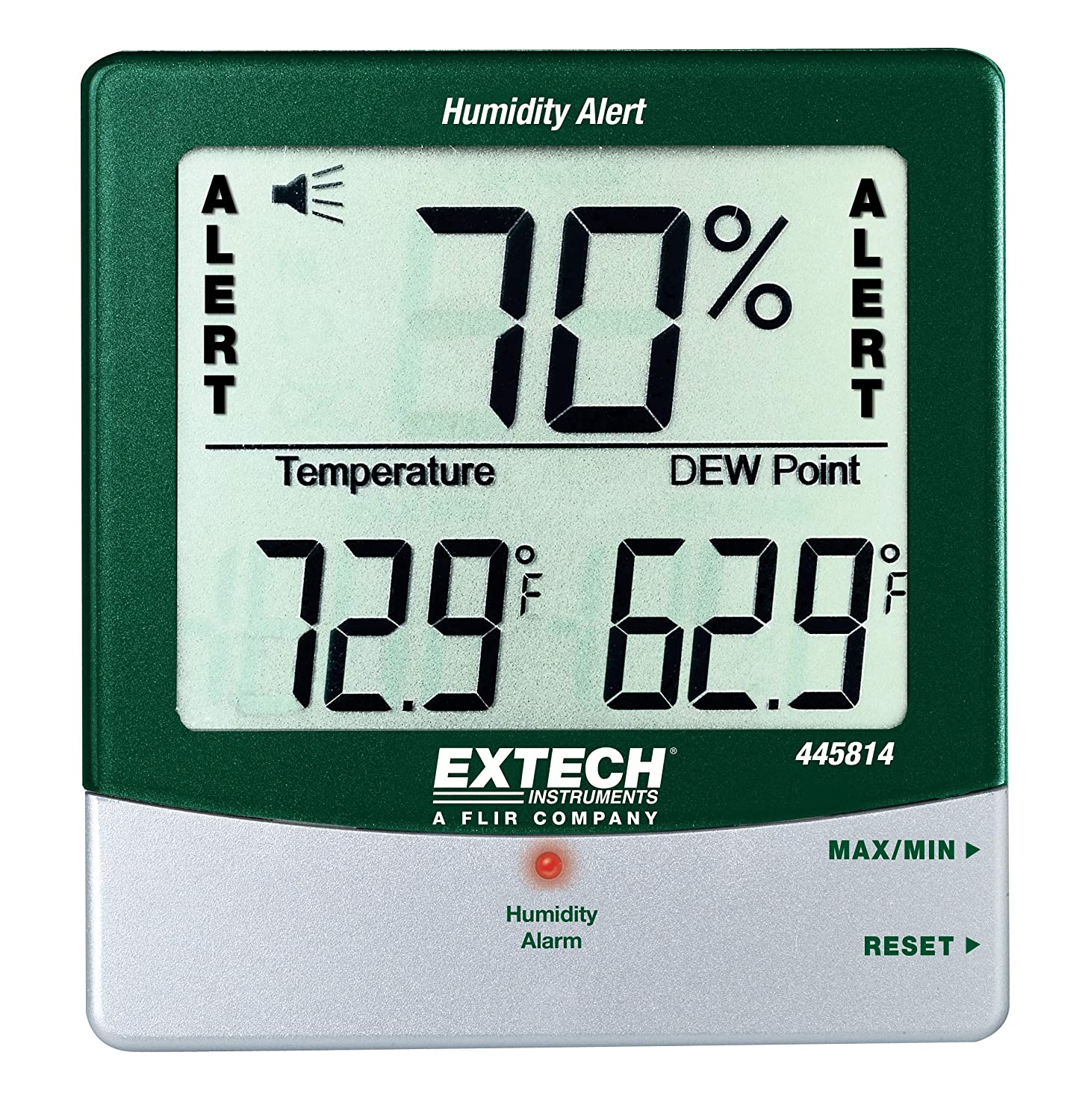 Extech 445814 Stationary Hygro Thermometer Psychrometer with Audible Humidity Alert Extech Instruments