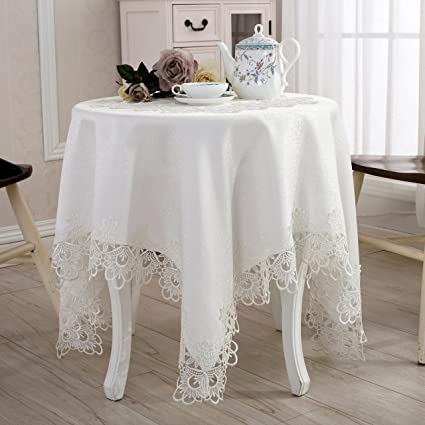 QXFSMILE Embroidered Table Cover Square Lace Tablecloth Unique Wedding  Decoration,42 By 42 Inch,