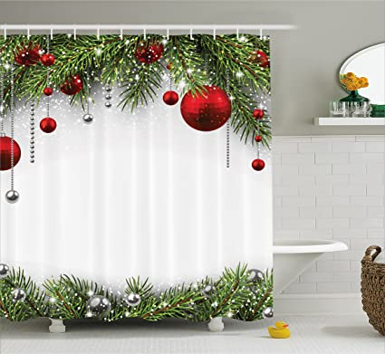 Christmas Bathroom Curtains.Ambesonne Christmas Shower Curtain Noel Time Backdrop With Fir Pine Leaves Celebration Ball Classic Religious Design Fabric Bathroom Decor Set With
