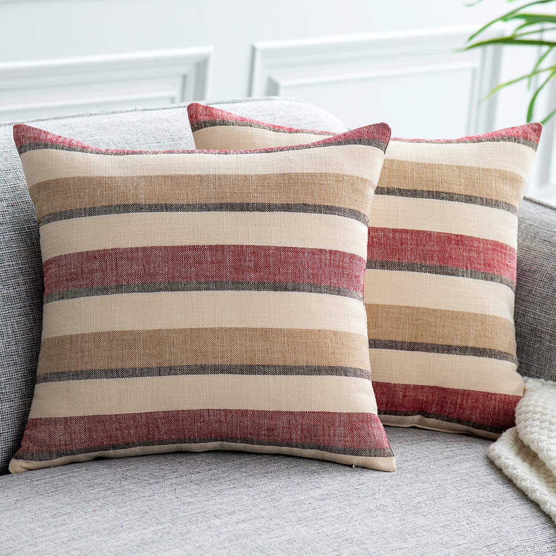 NATUS WEAVER 2 Pieces Decorative Classic Retro Stripe Throw Pillow Cover Wite Hidden Zipper Soft Linen Modern Farmhouse Cushion Case for Sofa Bedroom Car 18 x 18 Inch Red Brown Mixed