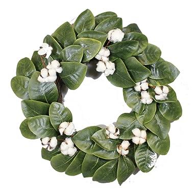 Silvercloud Trading Co. Magnolia & Cotton Wreath - 22  - Adjustable Stems - Timeless Farmhouse Decor - Wedding Centerpiece