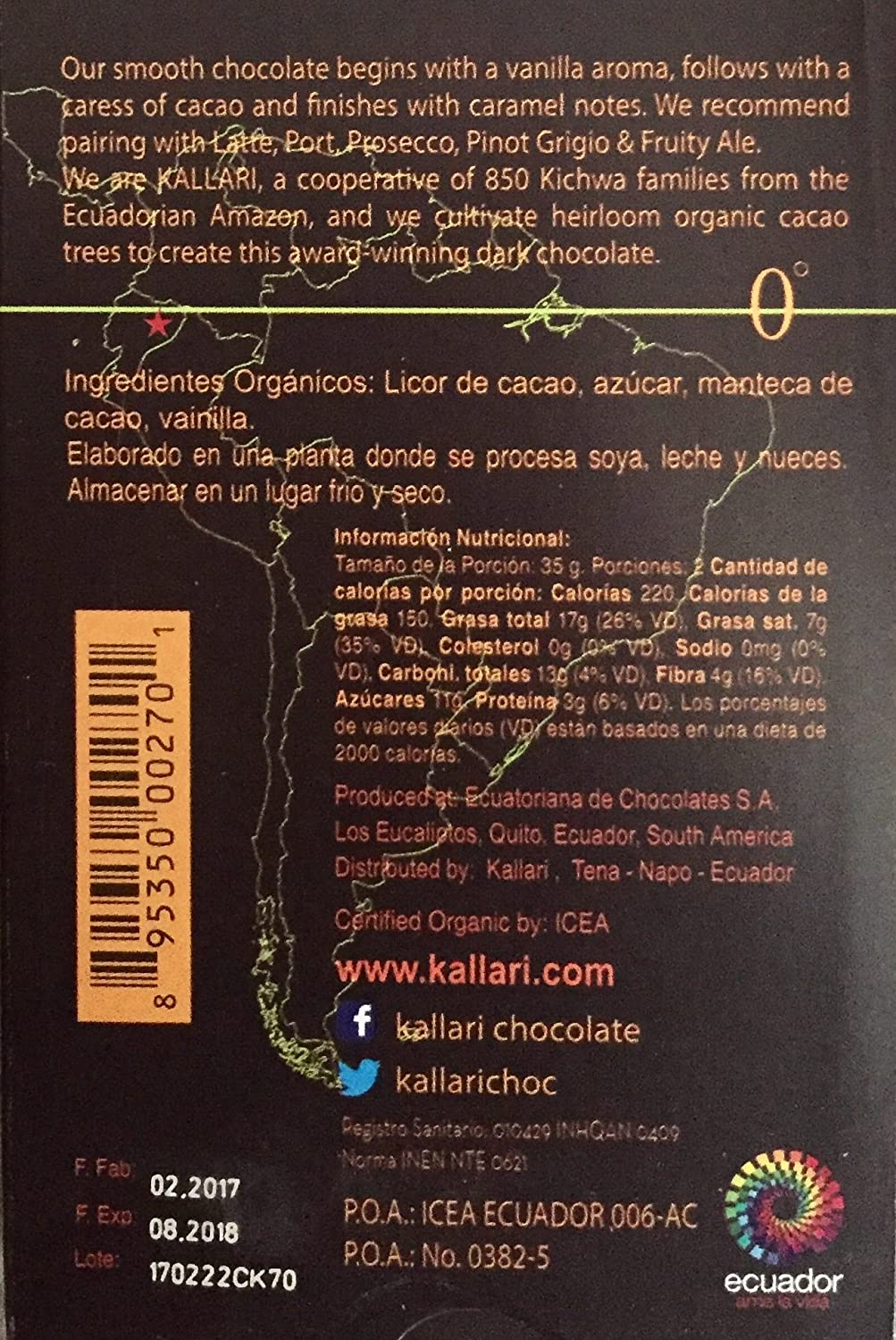 Amazon.com : Kallari Organic Dark Chocolate (Kallari Organic Dark Chocolate Bar 85% Cacao, Pack of 12) : Grocery & Gourmet Food