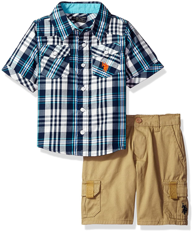 U.S. Polo Assn. Boys' Woven Sport Shirt and Twill Cargo Short